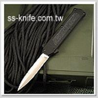 AKC F-16 義大利紳士 OTF 彈簧刀 緞面刺刀刃 黑色