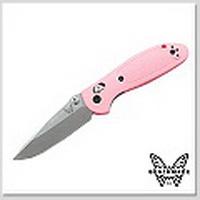 Benchmade Mini GRIPTILIAN 粉紅柄S30V DROP平刃折刀