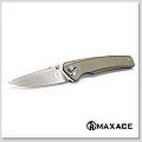 Maxace Aiorosu Zong AZ03 Sandvik 14C28N鋼石洗刃噴砂棕鈦柄折刀【不二價】